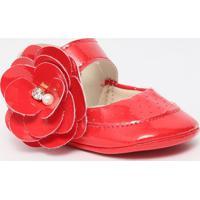 Sapato Boneca Com Flor & Perola - Vermelho- Ticco Batico Baby