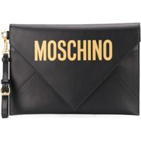 Moschino Clutch Envelope Com Estampa De Logo - Preto