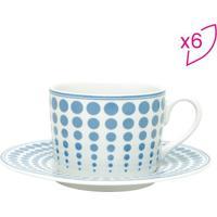 Jogo De Xícaras Para Chá Blue Dots- Branco & Azul Claro
