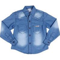 Camisa Jeans Manga Longa Infantil Para Menino - Azul