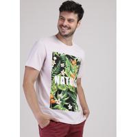 "Camiseta Masculina ""Nature"" Com Estampa Floral Manga Curta Gola Careca Rosa Claro"
