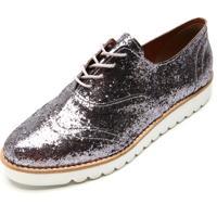 Oxford Flatform Dafiti Shoes Glitter Prata