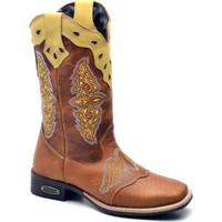 Bota Top Franca Shoes Texana - Feminino-Caramelo