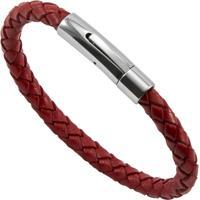Bracelete De Aço Inox Tudo Joias Com Couro Bright Red - Unissex