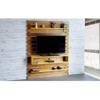 Painel Para Tv Standby - Estante Para Tv Até 60 Polegadas Nózes E Amarelo - 135X23X172 Cm