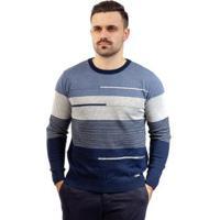 Blusa De Malha Masculina Com Listras Sumaré 10387 - Masculino-Azul