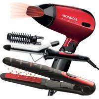 Conjunto Especial Super Bonita Mondial - Prancha + Escova Modeladora + Secador 1200W - Unissex-Vermelho
