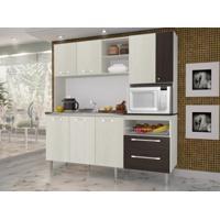 Cozinha Compacta Jade Sem Tampo Arena/Ébano - Kits Paraná