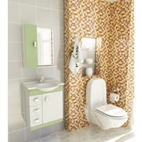 Kit Completo Para Banheiro 60 Cm Com 3 Peças Pratiko Branco E Verde Tomdo