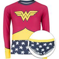 Conjunto Camiseta Manga Longa Proteção Solar Uv E Sunkini Liga Da Justiça Mulher-Maravilha Infantil - Rosa/Azul Esc