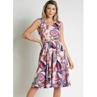 Vestido Floral Rosa Com Pregas Moda Evangélica