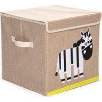 Caixa Organizadora Dolce Home Linha Bichos Com Tampa - Zebra Bege