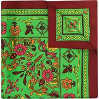 Tory Burch Lenço Com Estampa Floral De Seda - Verde