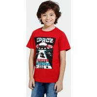 Camiseta Infantil Manga Curta Estampa Marisa
