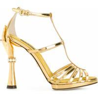Dolce & Gabbana Sandália 'Bette' De Couro E Seda - Metálico