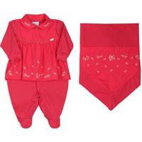 Saída De Maternidade Paraiso Floral Malha Fio 30 Vermelho