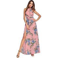 Vestido Longo Floral Com Laço Nas Costas - Rosa P