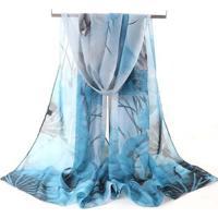 Lenço & Charpe De Chiffon Artestore Xale - Feminino-Azul