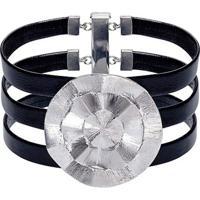 Bracelete De Couro E Prata Catavento Uber47 - Feminino