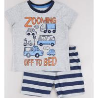 "Pijama Infantil Carros ""Zooming Off To Bed"" Manga Curta Cinza Mescla"