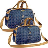 Kit 02 Bolsas Maternidade Talismã Confecções Majestade Azul Marinho