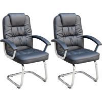 Conjunto Com 2 Cadeiras De Escritório Interlocutor Fixas Finland Preto