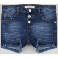 Short Jeans Infantil Com Botões E Barra Desfiada Azul Escuro