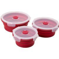 Kit Pote Dobrável Redondo Em Silicone Vermelha Com 3 Peças