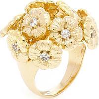 Anel Banhado A Ouro Buque De Flores E Zirconias - Feminino-Dourado