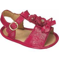 Sandália Com Flores - Rosa Escuro- Luluzinhaluluzinha