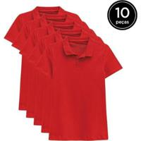 Kit 10 Camisas Polo Basicamente Feminino - Feminino-Vermelho