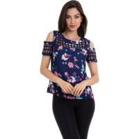 Blusa Crepe Estampada Com Ombro Vazado Feminina - Feminino-Marinho