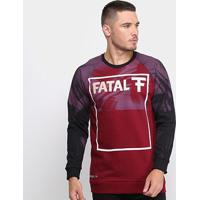Blusa Moletom Fatal U Rag Logo Masculina - Masculino-Vinho