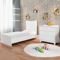 Berço Cama Com Cômoda Americano Fofura Branco - Art In Móveis