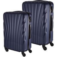 Conjunto De 2 Malas De Viagem Em Abs Fuseco Qlink 12 Cadeado Embutido Rodas 360º - Unissex-Azul