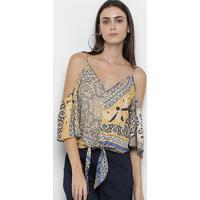Blusa Morena Rosa Decote V Alça Amarração Frontal Estampada - Feminino-Amarelo+Azul