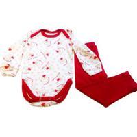 Pijama Bebê Babié Manga Longa Feminino - Feminino-Vermelho