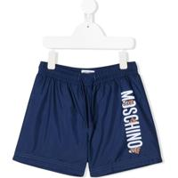Moschino Kids Short De Natação Com Estampa De Logo - Azul