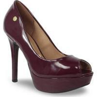 Sapato Peep Toe Vizzano Salto Alto Verniz Feminino - Feminino-Bordô
