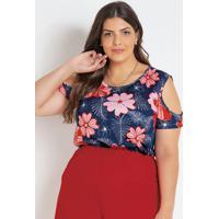 Blusa Com Ombros Vazados Floral Plus Size