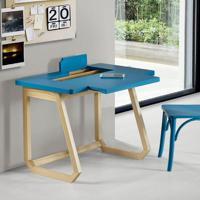 Escrivaninha Com Tampo Deslizante Hush - Natural/ Laca Azul