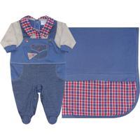Saida Maternidade Maglian Jardineira 2 Pçs Azul