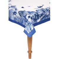 Toalha De Mesa Karsten Retangular Sempre Limpa Nature Blue 1,60X2,70M Branca/Azul