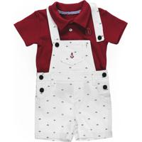 Conjunto Infantil Pupi Camisa Polo Jardineira Vermelho