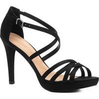 Sandália Shoestock Salto Fino Recortes Feminina - Feminino-Preto