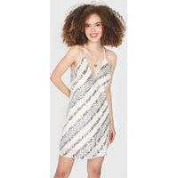 Vestido Colcci Curto Paetês Listrado Off-White/Prata