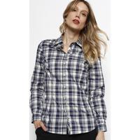 Camisa Xadrez Com Easy Iron® - Azul Marinho & Bege -Dudalina