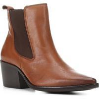 Bota Chelsea Shoestock Couro Cano Curto Feminina