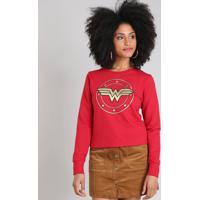 Blusão Feminino Mulher Maravilha Em Moletom Decote Redondo Vermelho