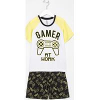 Pijama Infantil Estampa Game Brilha No Escuro - Tam 5 A 14 Anos